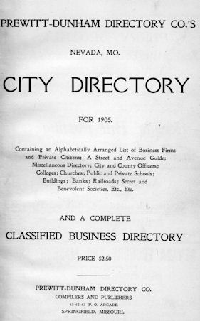 History: Title page of the Nevada, MO City Directory